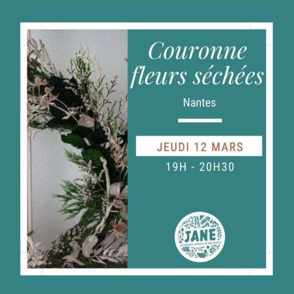 couronne de fleurs séchées, atelier Anouk Autier